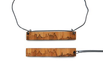 Philadelphia Skyline Necklace - Wood Etched Jewelry