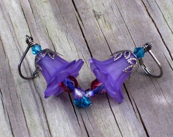 Purple and Blue Lily Flower Earrings