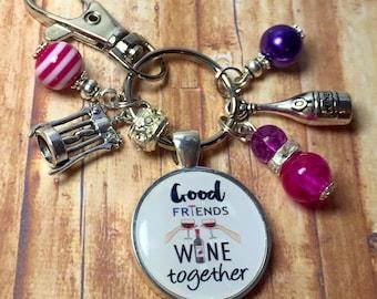 Wine lover keyring, wine lover keychain, wine lover gift, wine drinker gift, wine drinker keyring