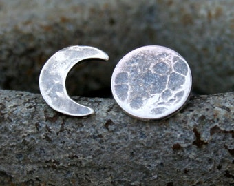 Moon Phase Post Earrings - Sterling Silver