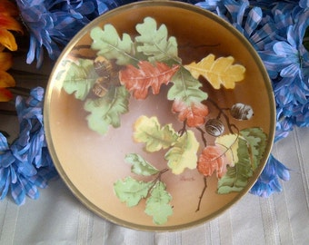 "O. & E. G. Royal Austria Plate. Hand Painted Porcelain Plate. Autumn Oak And Leaves Design. Signed By ""Laporte"". 1889-1910.          ."