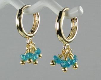 Apatite and Gold Hoop Earrings Petite Flirty