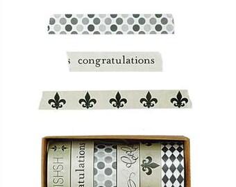 Decorative Washi Tape Set, 6 Rolls, Congratulations, Celebrate, Make a Wish, Fluer de Lis