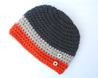 baby boy Hat hand knit grey beige orange