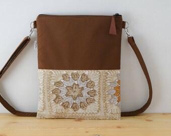 Brown tote,canvas tote bag,crochet tote bag,autumn print,brown purse,crossbody bag,crossbody purse,brown fabric tote,granny print,fall print