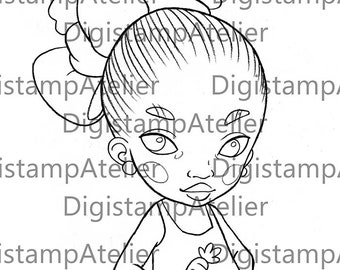 Carrot Little Girl. INSTANT DOWNLOAD Digital Digi Stamps