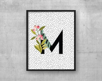 Letter M print - Instant digital download - Initial - Kids room wall art print - Nursery art decor - Monogram initial Baby nursery poster