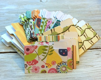 Mini File Folders, Scrapbook Embellishments, Miniature Office File Folders,  Journal Supplies, random assortment of patterns  pack of 10