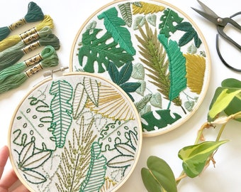 Welcome to the Jungle Embroidery Pattern. Jungle Leaves Design. Botanical Art. Instant Download PDF. DIY Home Decor. Beginner Embroidery.