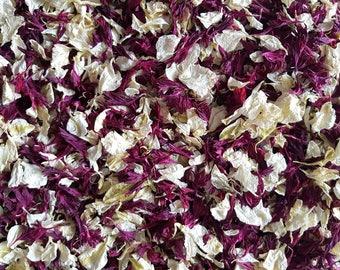 Dried Flower Petal Confetti   Ivory Cream & Burgundy Biodegradable Delphinium Petals for Weddings Bulk Petal Confetti