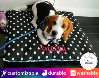 Pillow Dog Bed | Modern Dog Bed, Turquoise, White, Polka Dot, Chevron - Small to X-Large | Design Your Own
