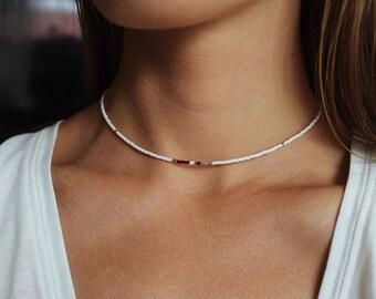 Beaded Necklace, Beaded Choker, Seed Bead Necklace, Seed Bead Choker, Dainty Choker, Minimalist Necklace, White Necklace, White Choker