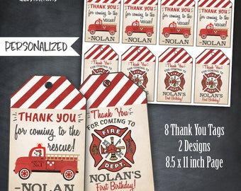Fire Truck Thank You Tags, Fire Truck Firefighter Tags, Fire Truck Birthday, Fireman Party, Fire Engine Tags, Personalized, Printables