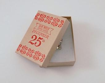 Sweater Weather Holiday Stamped Kraft Box Jewelry Box Gift Box Red Christmas Gift Box