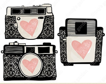 DAMASK CAMERAS - RETRO, Digital Embellishments Clip Art Illustration | vintage pattern heart hand drawn