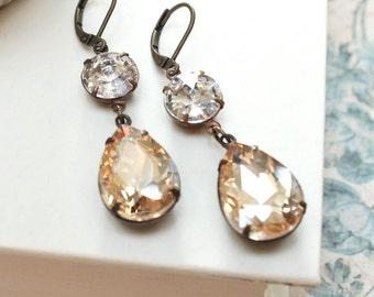 Long Rhinestone Earrings Champagne Topaz Jewel Earrings Glass Earrings Vintage Style Wedding Holiday Party Dangle Earrings Christmas Gift