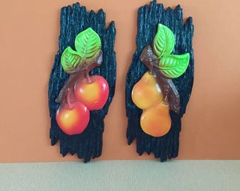 Vintage 1975 Chalkware Fruit & Bark Wall Decor-Miller Studio