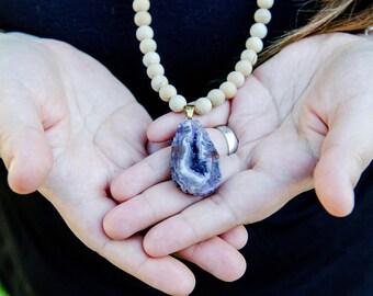 Purple Druzy Agate Pendant + Thuja Wood Necklace