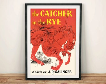 CATCHER In The RYE PRINT: Vintage Book Cover Poster Art Wall Hanging, Red