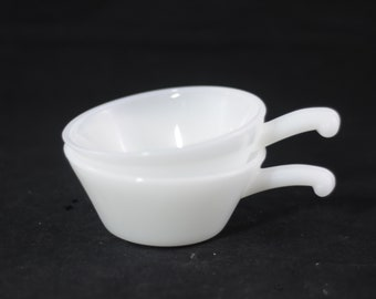 2 Fire-King Bowls Anchor Hocking Soup Chili Bowl W/Handle White Milk Glass