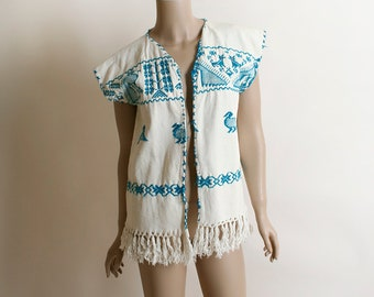 Vintage Guatemalan Vest Top - White & Turquoise Duck Fox Peacock Embroidery - Mexican Style - Ethnic Open Front Finge Vest