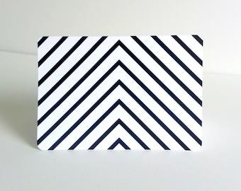 Chevron Note Card - Black and White Chevron - Set of 10 Herringbone Patterned Cards - Fashion Geometric Pattern Cards
