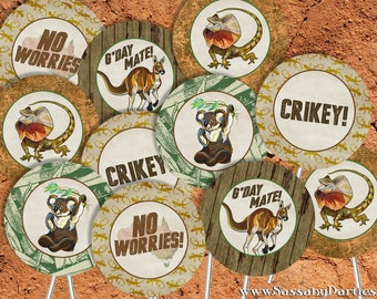 Australian Animals Party Circles/Cupcake Toppers - INSTANT DOWNLOAD - Printable Aussie Party Decorations, Decor, Koala, Kangaroo Decor
