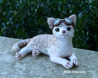 Gear Striped Steampunk Tabby Cat Myxie Pal Sculpture