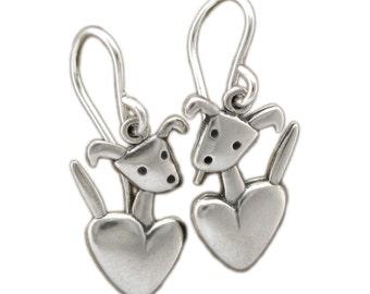 Pocket Pup Earrings - Sterling Silver Dog Earrings - Dog with Heart Earrings