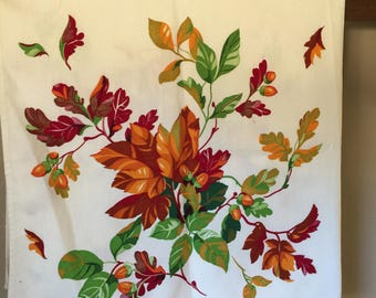 Vintage Wilendure Fall Autumn Leaves Tablecloth Near Mint Condition