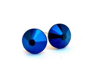 Metallic Blue Swarovski stud earrings, 7mm iridescent blue Swarovski crystal studs, dark blue post earrings, blue metallic