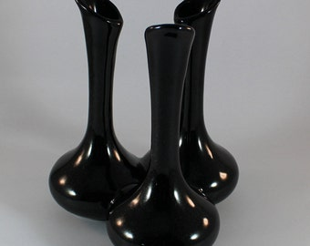 Black Van Briggle Triple Bud Vase in Solid Jet Black Gloss Glaze Late 1980s Signed and Initialed