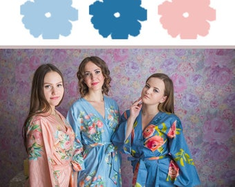 Dusty Blue and Peach Wedding Color Bridesmaids Robes - Premium Soft Rayon - Wider Belt and Lapels - Wider Kimono sleeves