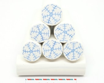 Snowflake Clay Cane, White Background, Unbaked Polymer Clay Cane, Raw Clay Cane, Polymer Clay Cane, Winter Canes, Christmas