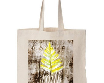 FAITH Canvas Tote - brown, Yellow, Bible Art, Art, Painting, Christian Art, Bible, Natural Canvas tote, Natural, Cotton, leaf, 14''wx16''w.