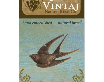 Bird Pendant Swallow Pendant Antiqued Bronze Natural Brass Pendant Vintaj Diving Swallow Bronze Bird Charm MADE IN USA 41mm