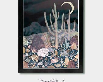 Fuchs Druck. Mondlicht. Wolf, Fuchs und Kaktus, Kitsune, Kaktus-Druck, Kaktus-Dekor, Fox Wandkunst, Wäsche-Raum-Dekor, Wüste, Coyote