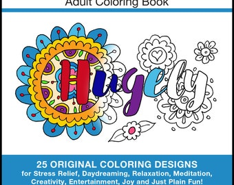 Donald Trump Books - PDF INSTANT DOWNLOAD - Trump Book - 25 Original Coloring Designs for Stress Relief & Relaxation