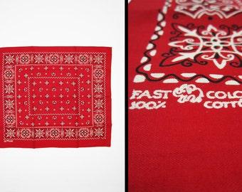 "Vintage NOS Elephant Bandanna 24"" Turkey Red Fast Color 1950s Handkerchief Large"