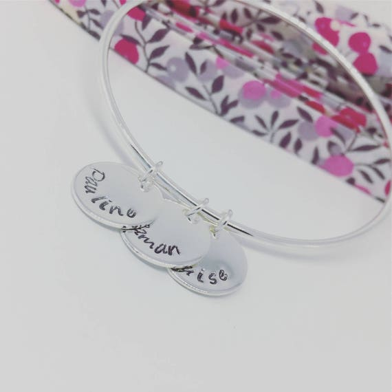 Custom silver Bangle - Silver 925 with 3 prints custom plated Bracelet