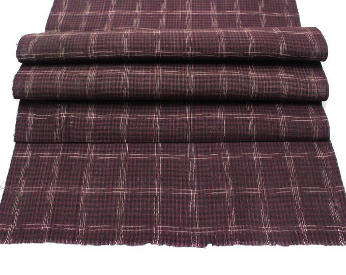 Japanese Vintage Kasuri Ikat. Woven Indigo Cotton. Traditional Folk Fabric. (Ref: 1828D)