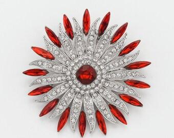 Red Crystal Brooch, Wedding Brooch, Brooch Cake Decor, Red Brooch, Bridal Brooch, Dress Sash Brooch, Bouquet Brooches.