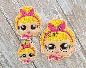Giggle Doll Feltie Giggle Doll Swinging Sissy Head Feltie Embroidery File