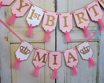 Happy 1st Birthday Banner, Girls Name Banner with Crowns Optional, Embossed White Pink and Gold Banner, Girls First Birthday Decorations
