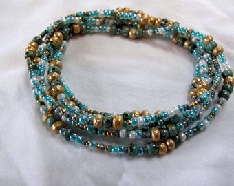 Multi-wrap seed bead stretch bracelet/necklace