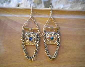 Earrings, mother's day, birthday gift, gold earrings, vintage earrings, dangle chains, prints, rhinestone dangle earrings