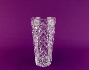 Medium Waterford Crystal Cut Glass Tapered Vase Vintage Irish circa 1960s