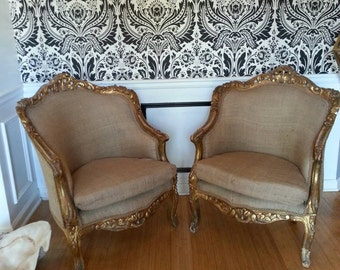 French Chairs. Rococo Style Antique Lounge Chairs. Pair Of Ornate Carved  French Chairs.