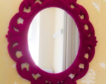 Pink Flocked Ornate Vintage style Mirror shabby Chic