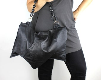 Large Black Leather Jett Handbag with Black Rope & Large Bead Strap - sustainable made with repurposed leather